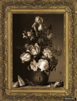 Vase with Flowers, shells and insects  Arty Frame - Wallcover