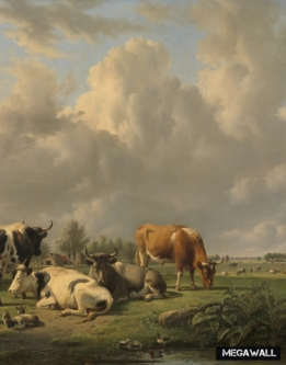 Meadow with cattle - Wallcover