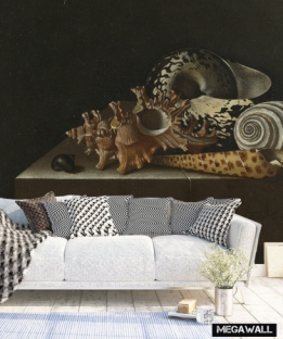 Shells on a stone plinth - Wallcover