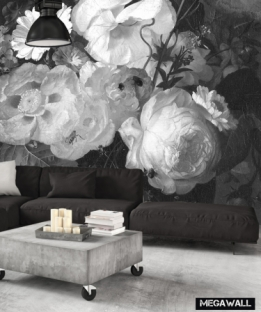 Still lfe with flowers 4 - Black/Whit Wallcover