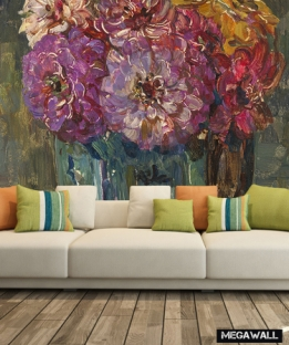 Stilleven met zinnia's - Behang
