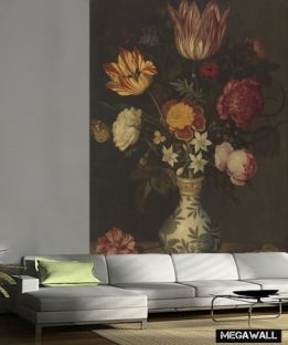 Still life with flowers in a Wan-li vase - Wallcover