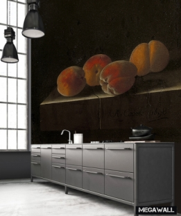 Four apricots on a stone plinth - Wallcover