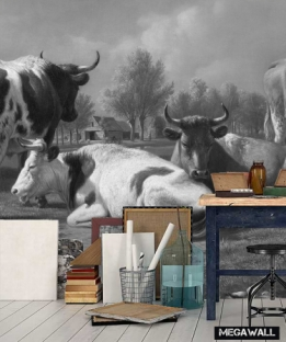 Meadow with cattle Black/White - Wallcover