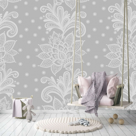 Baby Bloom - Mural Grey