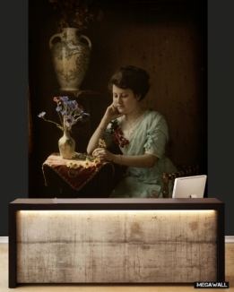 Woman sitting at table - Wallcover
